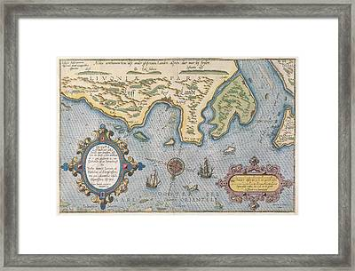 Dutch Trade Map Of The Baltic Sea Hand-coloured Engraving Framed Print by Dutch School