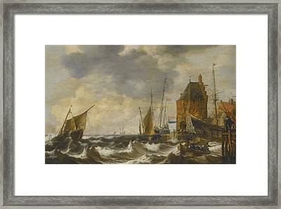 Dutch Vessels And A Rowing Boat Framed Print by Celestial Images