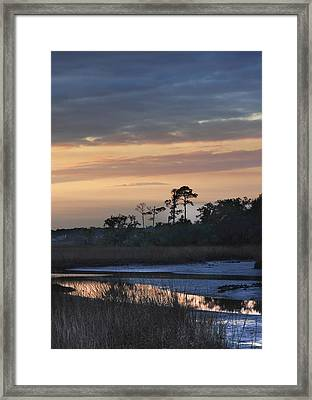 Framed Print featuring the photograph Dutton Island At Dusk by Phyllis Peterson