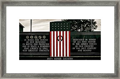Duty Honor Country Framed Print