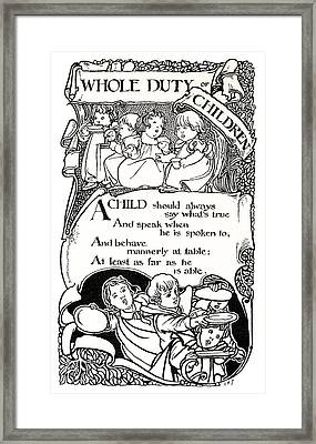 Duty Of Children  1895 Framed Print by Daniel Hagerman