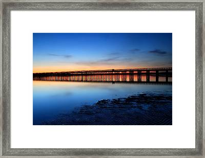 Duxbury Beach Powder Point Bridge Twilight Framed Print