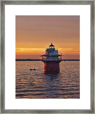 Duxbury Pier Light At Sunset Framed Print