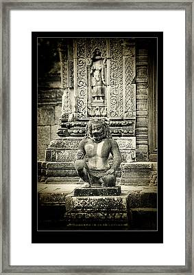 Dvarapala At Banteay Srey Framed Print by Weston Westmoreland
