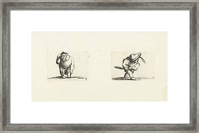 Dwarf, From The Front, Leaning On A Crutch, A Hood Or Large Framed Print by Jacques Callot