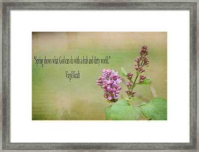 Dwarf Lilac With Verse Framed Print