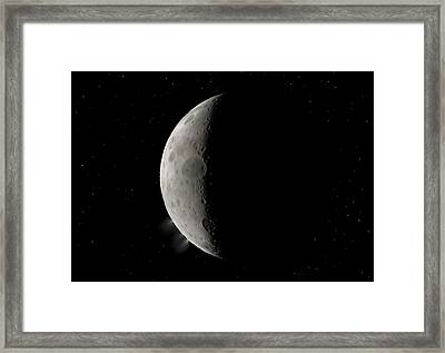 Dwarf Planet Ceres Crescent Framed Print by Walter Myers