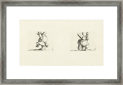 Dwarf With Bottle And Glass, Drink Spilling Dwarf Framed Print by Jacques Callot And Abraham Bosse