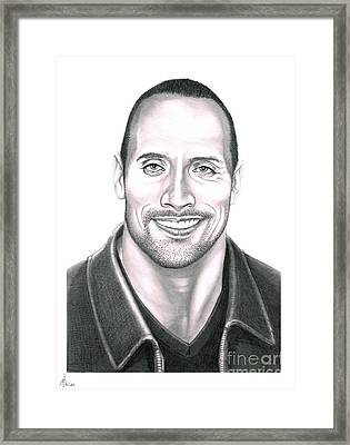 Dwayne Johnson The Rock Framed Print by Murphy Elliott