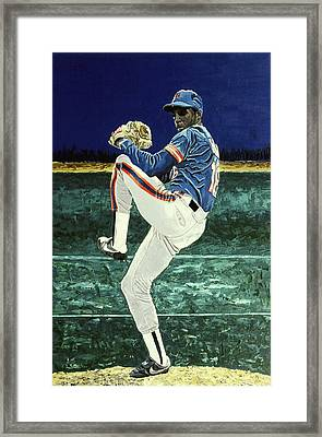 Dwight Gooden - New York Mets Framed Print by Mike Rabe