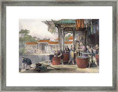 Dyeing And Winding Silk, From China Framed Print by Thomas Allom
