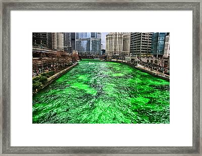 Dyeing The Chicago River Green Framed Print by Jerome Lynch