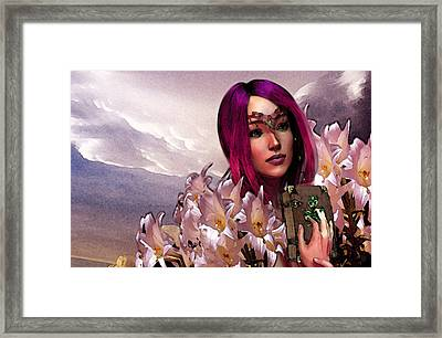 Framed Print featuring the painting Dymphna Lily Of Fire by Suzanne Silvir