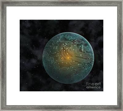 Dyson Sphere Framed Print by Lynette Cook
