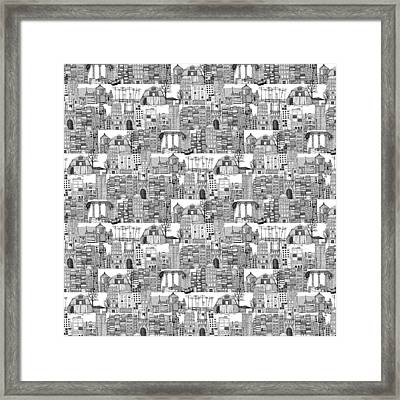 Dystopian Toile De Jouy Black White Framed Print