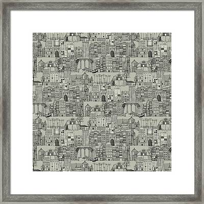 Dystopian Toile De Jouy Mono Framed Print by Sharon Turner
