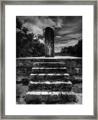 Dzibilchaltun Monolith 001 Bw Framed Print by Lance Vaughn