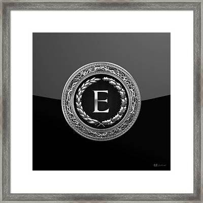 E - Black Silver Vintage Monogram On Modern Glossy Black Framed Print by Serge Averbukh