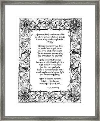 E E Cummings Framed Print