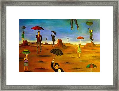 Spirit Of The Flying Umbrellas Edit 3 Framed Print by Leah Saulnier The Painting Maniac