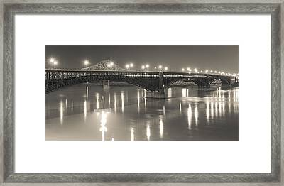 Framed Print featuring the photograph Eads Bridge And Train by Scott Rackers