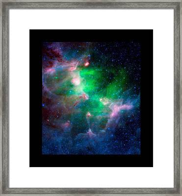 Eagla Nebula Infrared View Medium Black Border Framed Print by L Brown