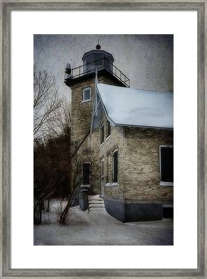 Eagle Bluff Light Framed Print by Joan Carroll