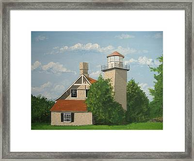 Framed Print featuring the painting Eagle Bluff Lighthouse Wisconsin by Norm Starks