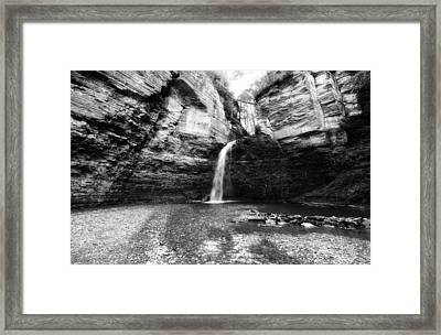 Eagle Cliff Falls In Black And White Framed Print by Trina  Ansel