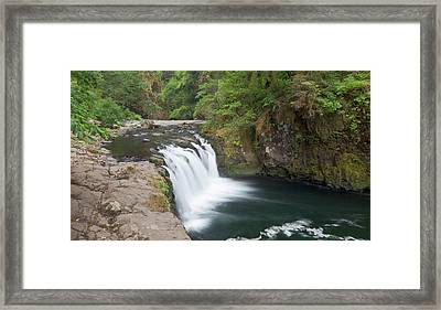 Eagle Creek Flows Over A Basalt Block Framed Print
