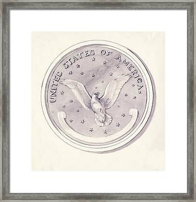Eagle Design For Us Coin Framed Print by American Philosophical Society