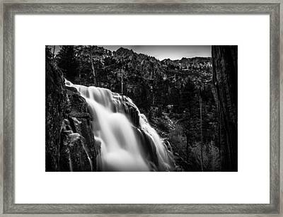Eagle Falls Black And White Framed Print