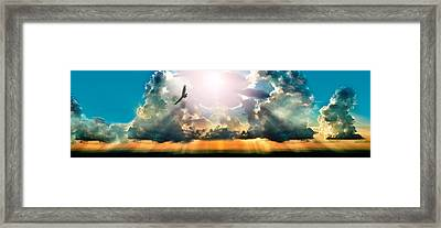 Eagle Flying In The Sky With Clouds Framed Print by Panoramic Images