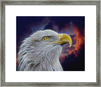 Eagle Head In Clouds Digital Art Framed Print by Ernie Echols