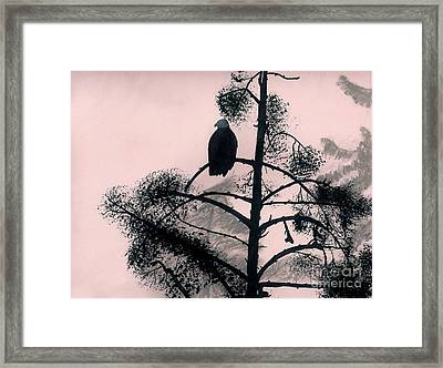 Framed Print featuring the drawing Eagle In Pink Sky by D Hackett