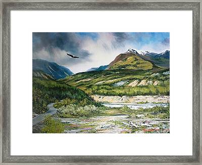 Eagle In Stormy Sky Framed Print