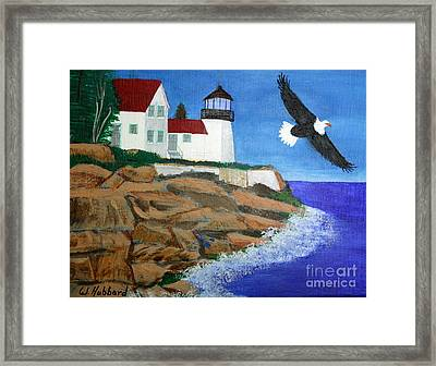 Eagle Isle Light In Casco Bay Maine Framed Print by Bill Hubbard