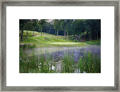 Eagle Knoll - Hole Fourteen - Mist On The Lake Framed Print