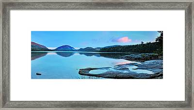 Eagle Lake Maine - Panoramic View Framed Print by Thomas Schoeller