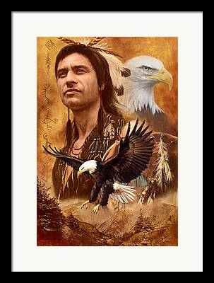 Native American Spirit Portrait Photographs Framed Prints