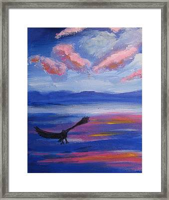 Framed Print featuring the painting Eagle  On Lake by Diana Riukas