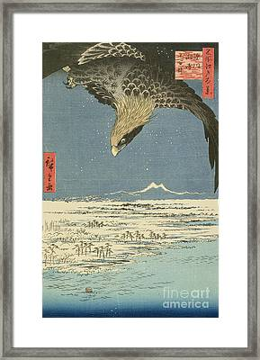 Eagle Over One Hundred Thousand Acre Plain At Susaki Framed Print by Hiroshige