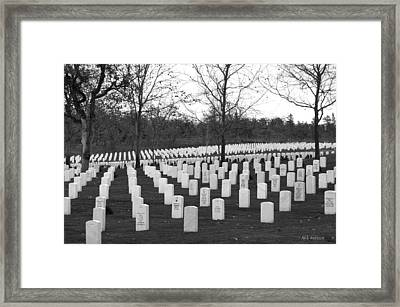 Eagle Point National Cemetery In Black And White Framed Print by Mick Anderson