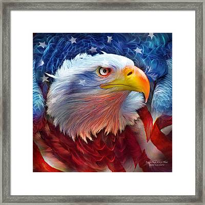 Eagle Red White Blue Framed Print by Carol Cavalaris