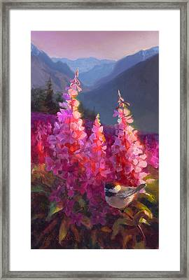 Eagle River Summer Chickadee And Fireweed Alaskan Landscape Framed Print by Karen Whitworth
