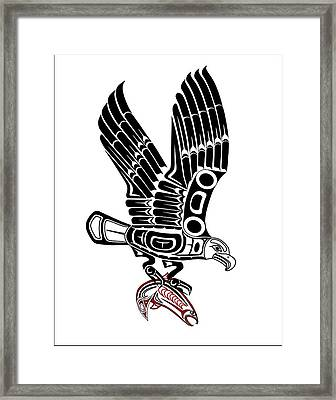 Eagle With Salmon Framed Print