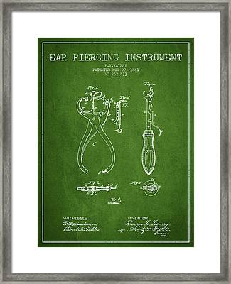 Ear Piercing Instrument Patent From 1881 - Green Framed Print