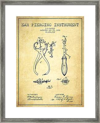 Ear Piercing Instrument Patent From 1881 - Vintage Framed Print