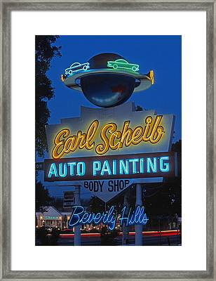 Earl Scheib Neon Bev Hills-1 Framed Print by Barbara Filet