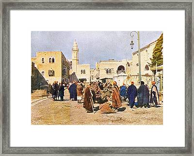 Early 19th Century Bethlehem Market Framed Print by Munir Alawi